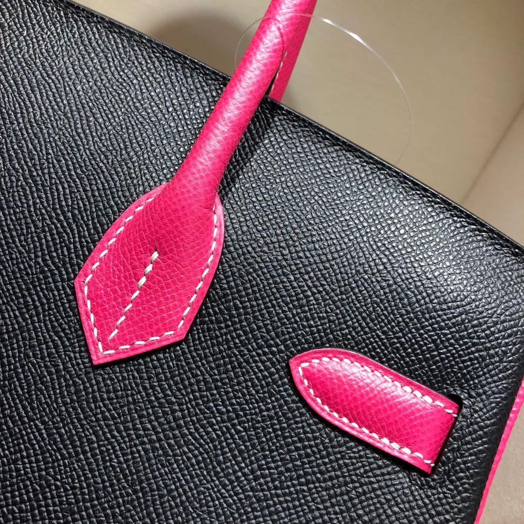 Hermes铂金包 Birkin 30cm Epsom 89 Noir 黑色拼 E5 Rose Tyrien 玫红 金扣