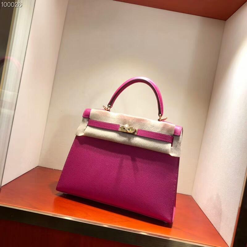 爱马仕包包批发 Kelly 25cm Epsom L3 Rose Purple 玫瑰紫 金扣 2018早春新色