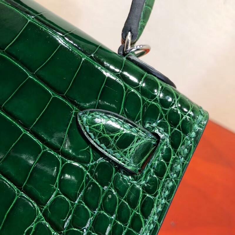 爱马仕包包 Mini Kelly 二代 19cm Shiny Alligator Crocodile 亮光方块美洲 67 Vert Bengale 祖母绿 银扣 全手缝蜡线