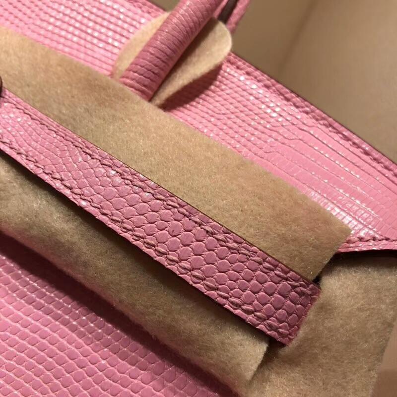 Hermes铂金包 Birkin 30cm Lizard蜥蜴背皮 5P Pink 樱花粉 银扣 顶级工艺手缝蜡线