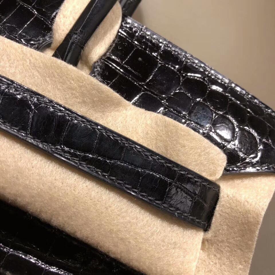 爱马仕铂金包 Birkin 30cm Shiny Niloticus Crocodile 亮面两点尼罗鳄 89 Noir 黑色 金扣