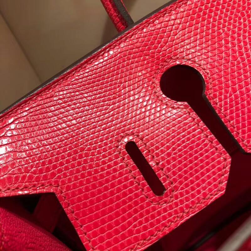 Hermes铂金包 Birkin 30cm Lizard蜥蜴背皮 I6 Rose Extreme 极致粉 金扣 顶级工艺手缝蜡线