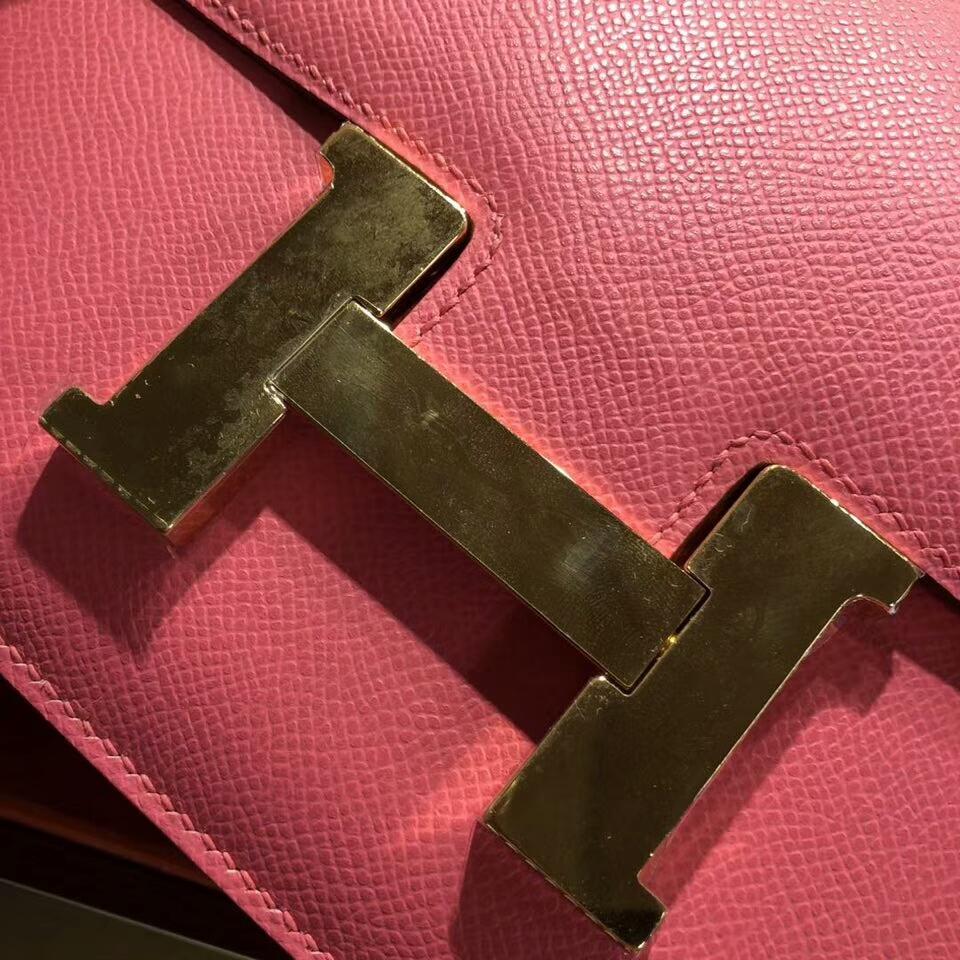 Hermes空姐包 Constance 24cm Epsom 8W Rose Azalee 唇膏粉 金扣 顶级工艺