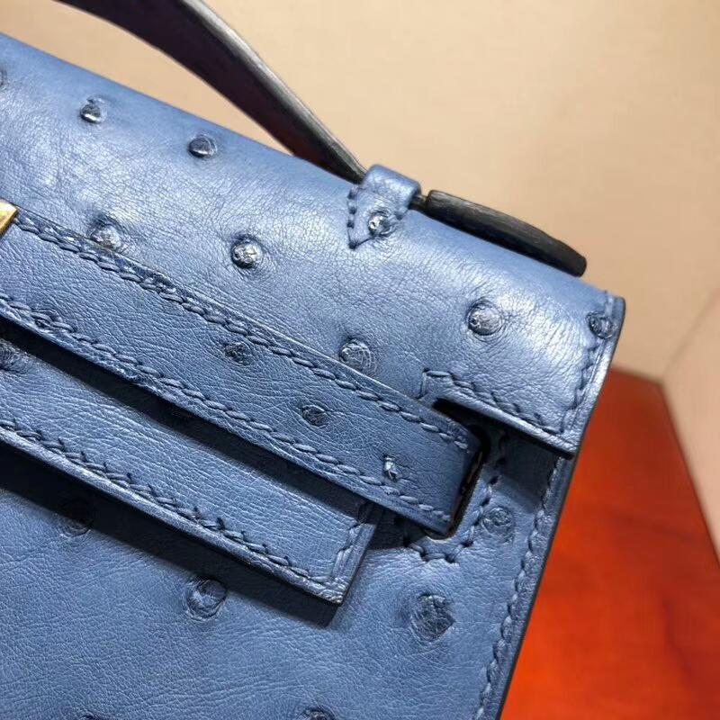 爱马仕包包批发 Mini Kelly Pochette 22cm Ostrich Leather R2 Blue Agate 玛瑙蓝 金扣 顶级工艺手缝蜡线