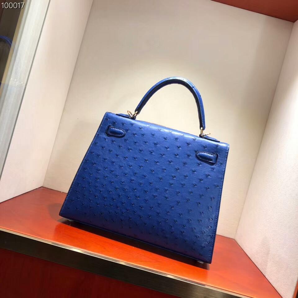 爱马仕包包批发 Kelly 25cm Ostrich Leather 7T Blue Htdra 电光蓝 金扣 超级百搭小可爱