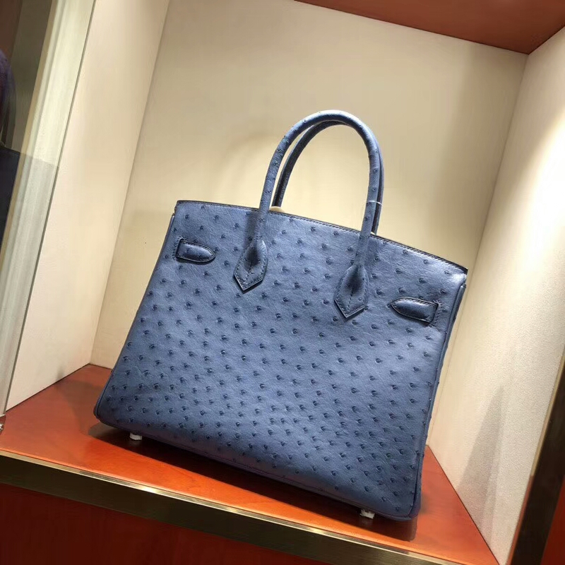 爱马仕包包批发 Birkin 30cm Ostrich Leather R2 Blue Agate 玛瑙蓝 金扣 手缝蜡线