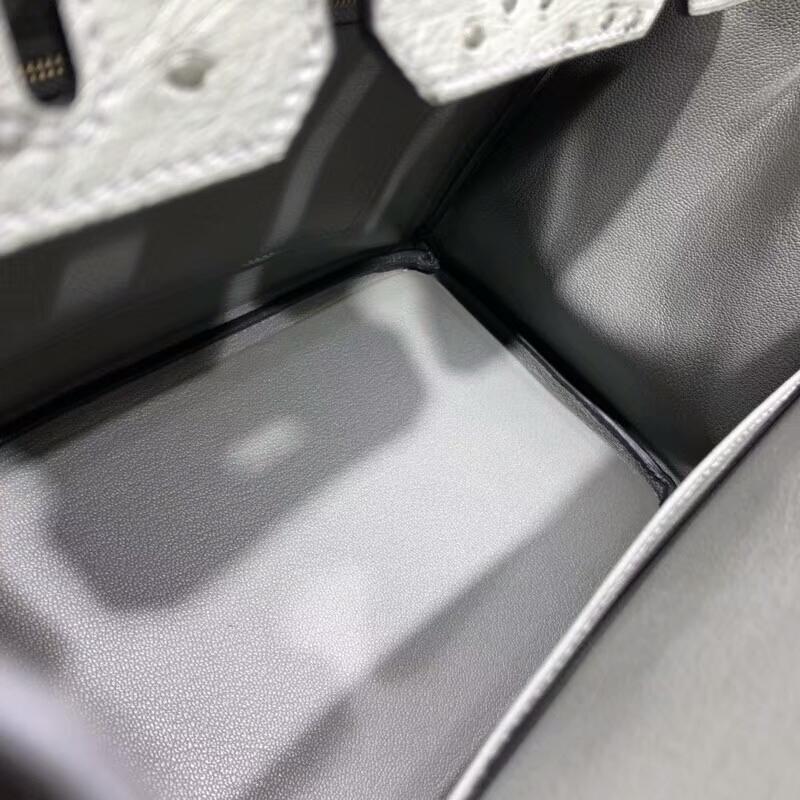 爱马仕包包批发 Birkin 30cm Ostrich Leather 19 Mousse 慕斯灰 金扣 手缝蜡线