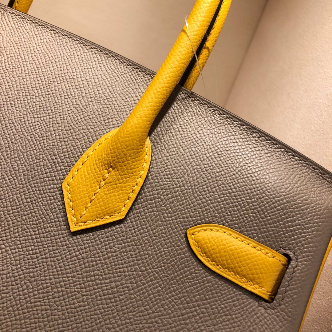 Hermes铂金包 Birkin 30cm Epsom M8 Gris Asphalte 沥青灰拼 9D Jaune Amber 琥珀黄 金扣