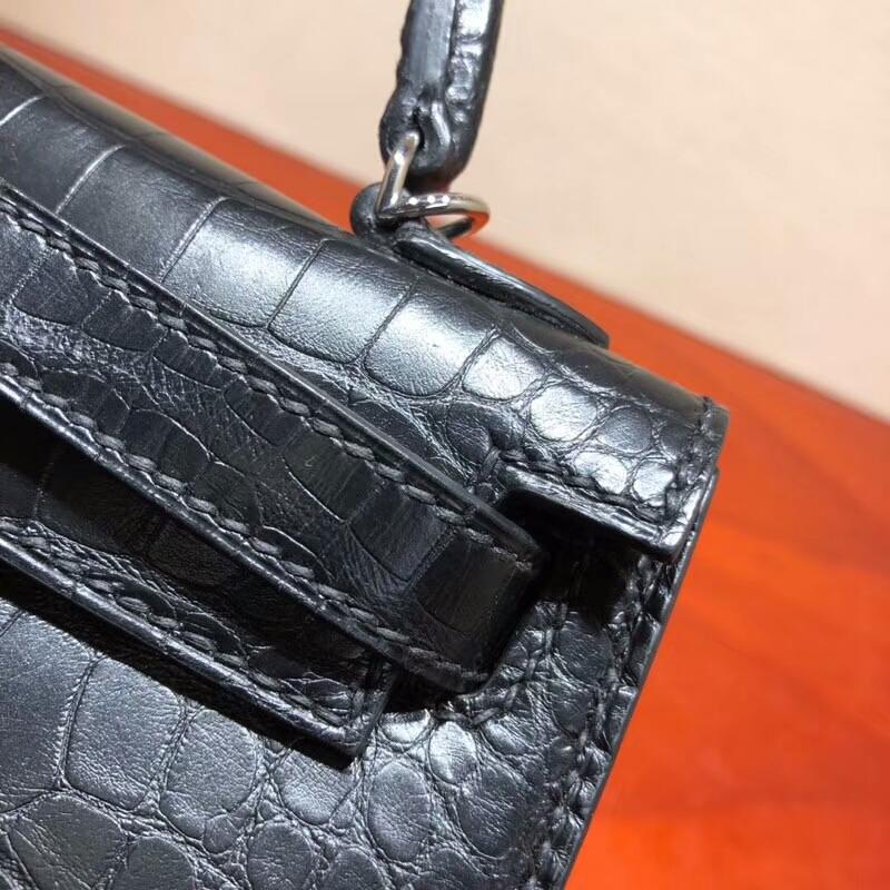 爱马仕包包 Mini Kelly 二代 Shiny Alligator Crocodile 雾面美洲 89 Noir 黑色 银扣 全手缝蜡线