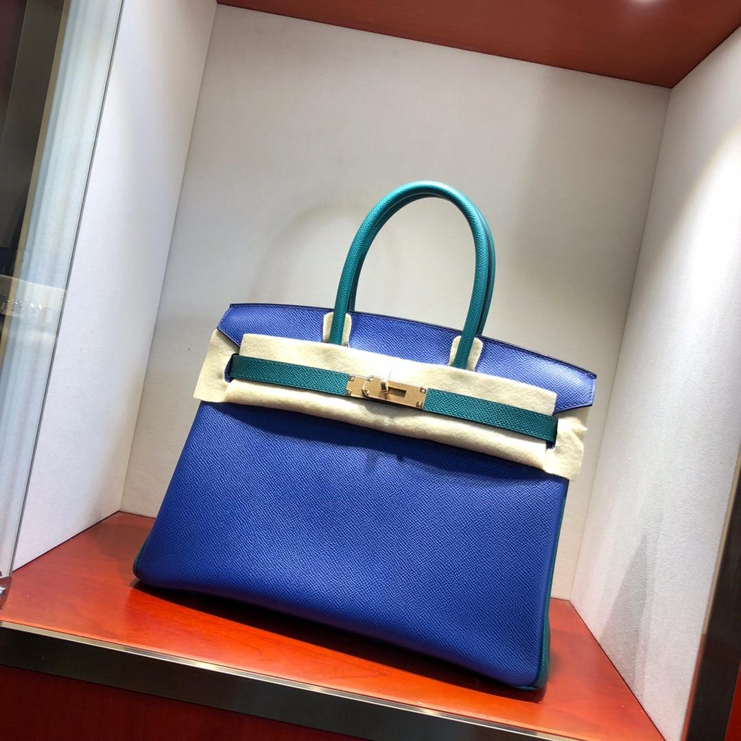 Hermes铂金包 Birkin 30cm Epsom 7T Blue Htdra 电光蓝拼 Z6 Malachite 孔雀绿 金扣