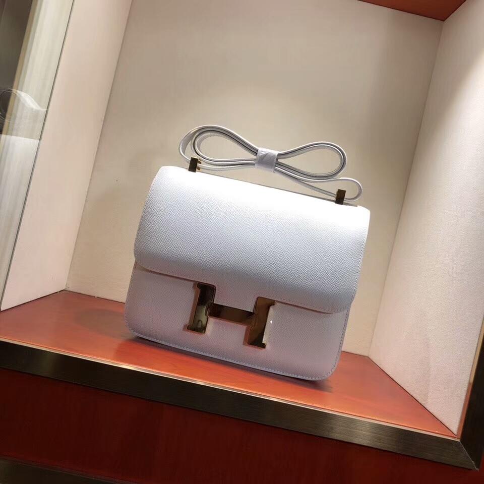 Hermes空姐包 Constance 24cm Epsom 01 Blanc 纯白 金扣 顶级工艺