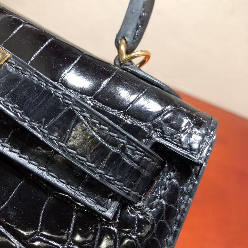 爱马仕包包 Mini Kelly Shiny Alligator Cracodile 亮面美洲方块鳄鱼 89 Noir 黑色 金扣