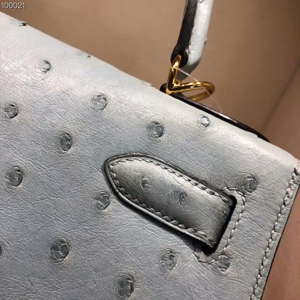 爱马仕包包批发 Kelly 25cm Ostrich Leather 8U Glacierw 冰川蓝 冰川灰色 金扣 超级百搭小可爱