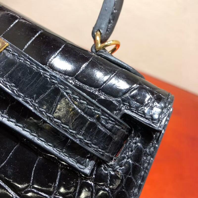 爱马仕包包 Mini Kelly 二代 Shiny Alligator Crocodile 亮光美洲 89 Noir 黑色 金扣 全手缝蜡线