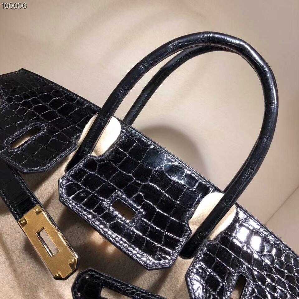 Hermes铂金包 Birkin 30cm Shiny Porosus Crocodile 亮面倒V湾鳄 89 Noir 黑色 金扣 顶级工艺