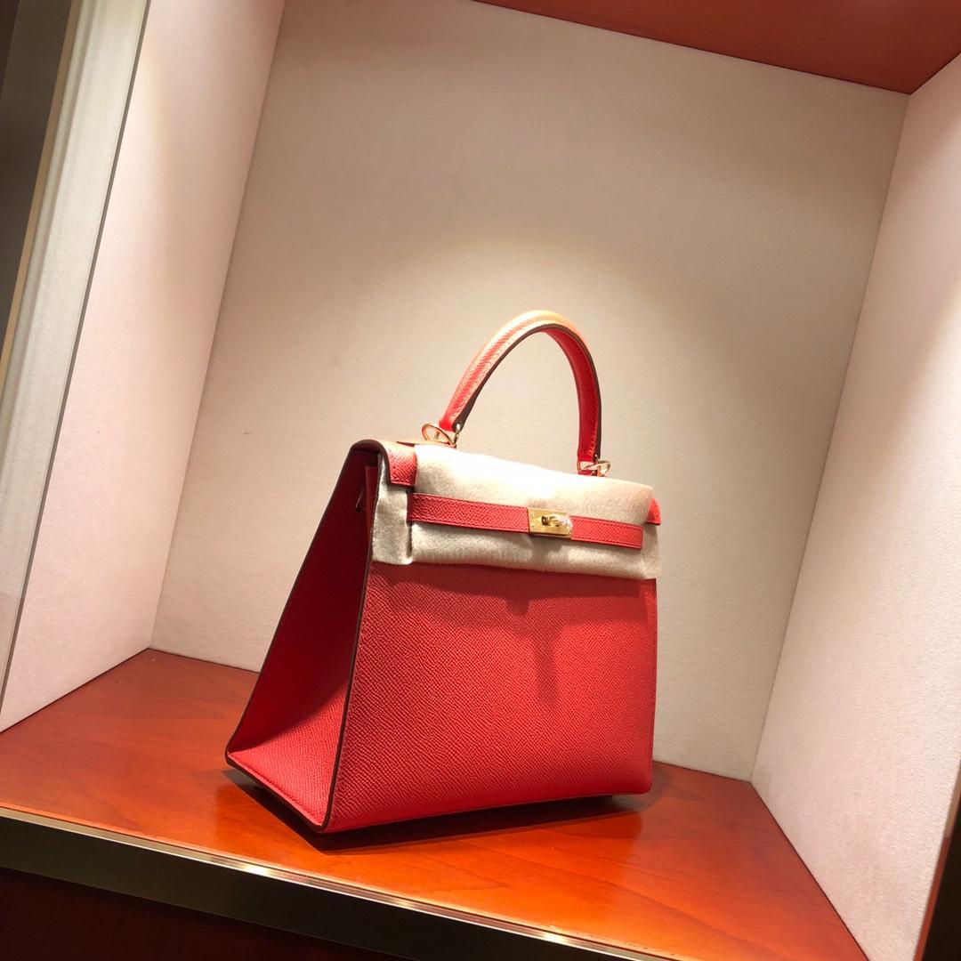 Hermes凯莉包 Kelly 25Cm Epsom T5 Rose Jaipur 普尔斋粉 西瓜红 金扣 顶级工艺 手缝蜡线