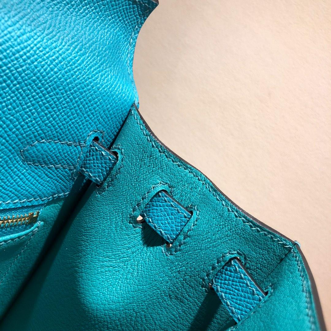 Hermes凯莉包 Kelly 25Cm Epsom 7F Blue Paon 孔雀蓝 银扣 顶级工艺 手缝蜡线