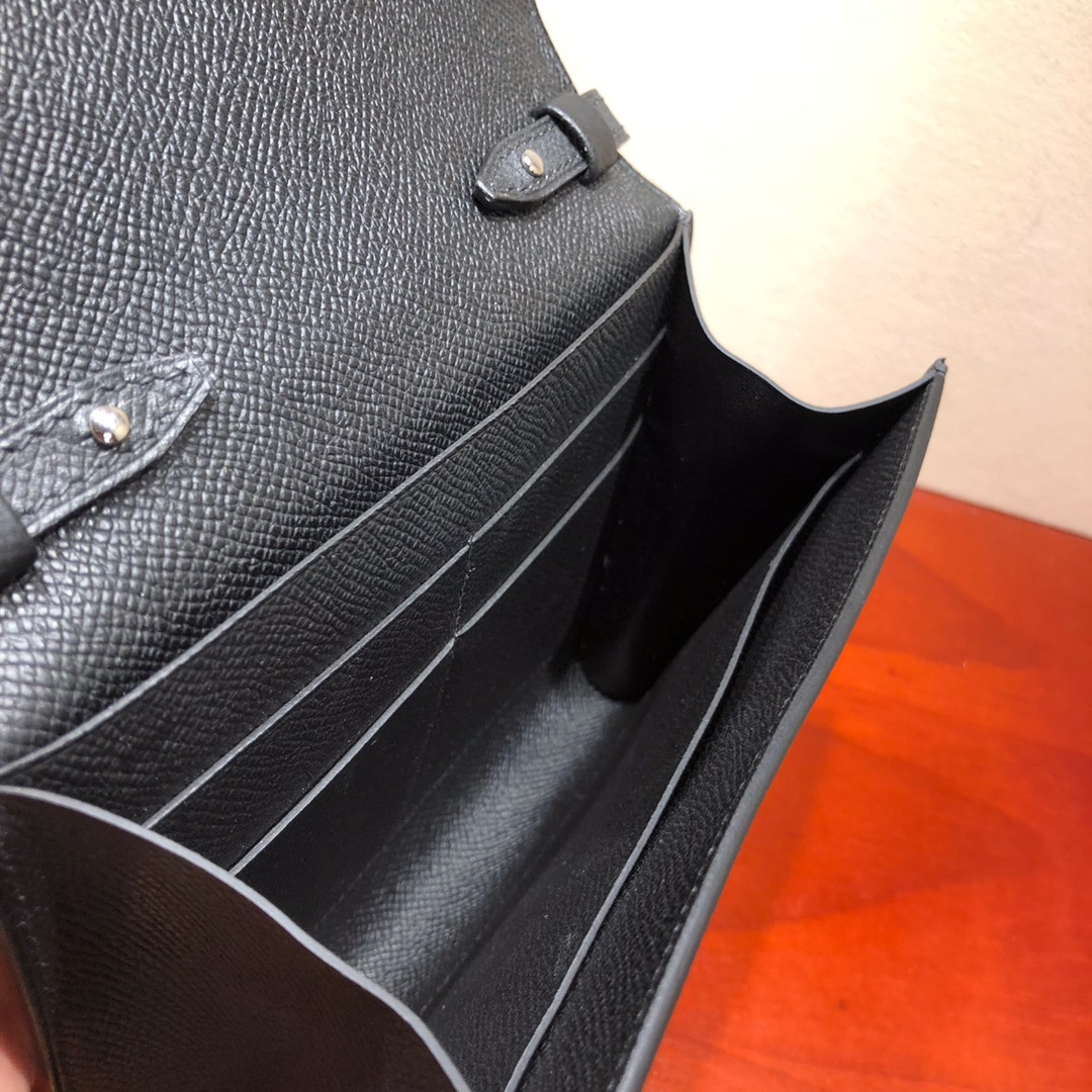 爱马仕包包 illicon 16Cm Epsom 89 Noir 黑色 银扣 顶级工艺 手缝蜡线