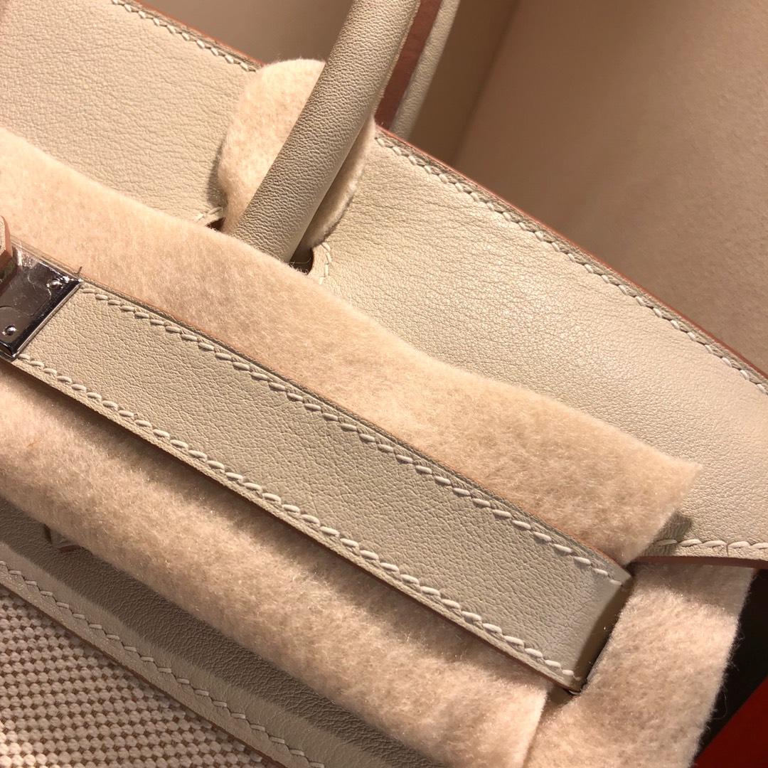 Birkin 30Cm Swift拼帆布 80 Gris Perle 珍珠灰 银扣 顶级工艺 手缝蜡线无敌限量版古董包