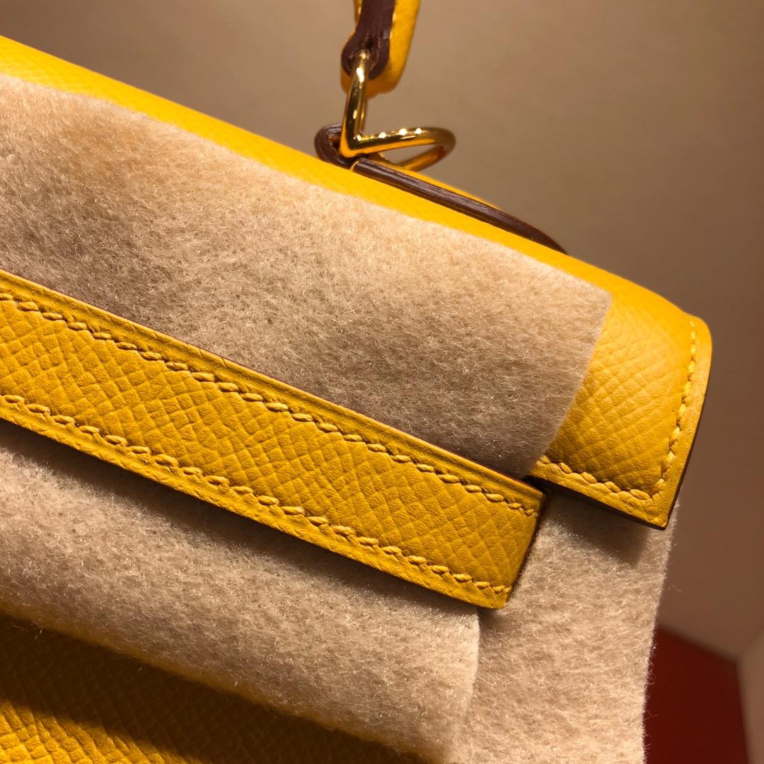 Hermes凯莉包 Kelly 25Cm Epsom 9D Jaune Amber 琥珀黄 金扣 顶级工艺 手缝蜡线
