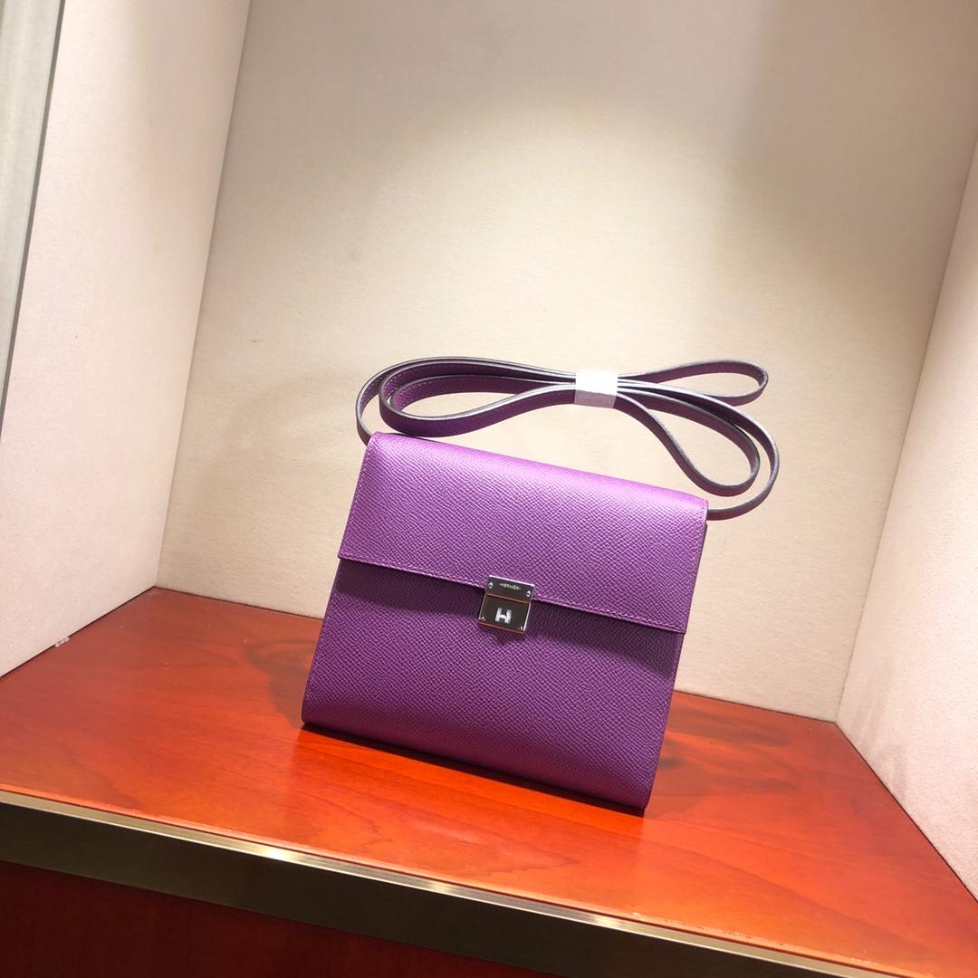 爱马仕包包 illicon 16Cm Epsom P9 Anemonb 海葵紫 银扣 顶级工艺 手缝蜡线