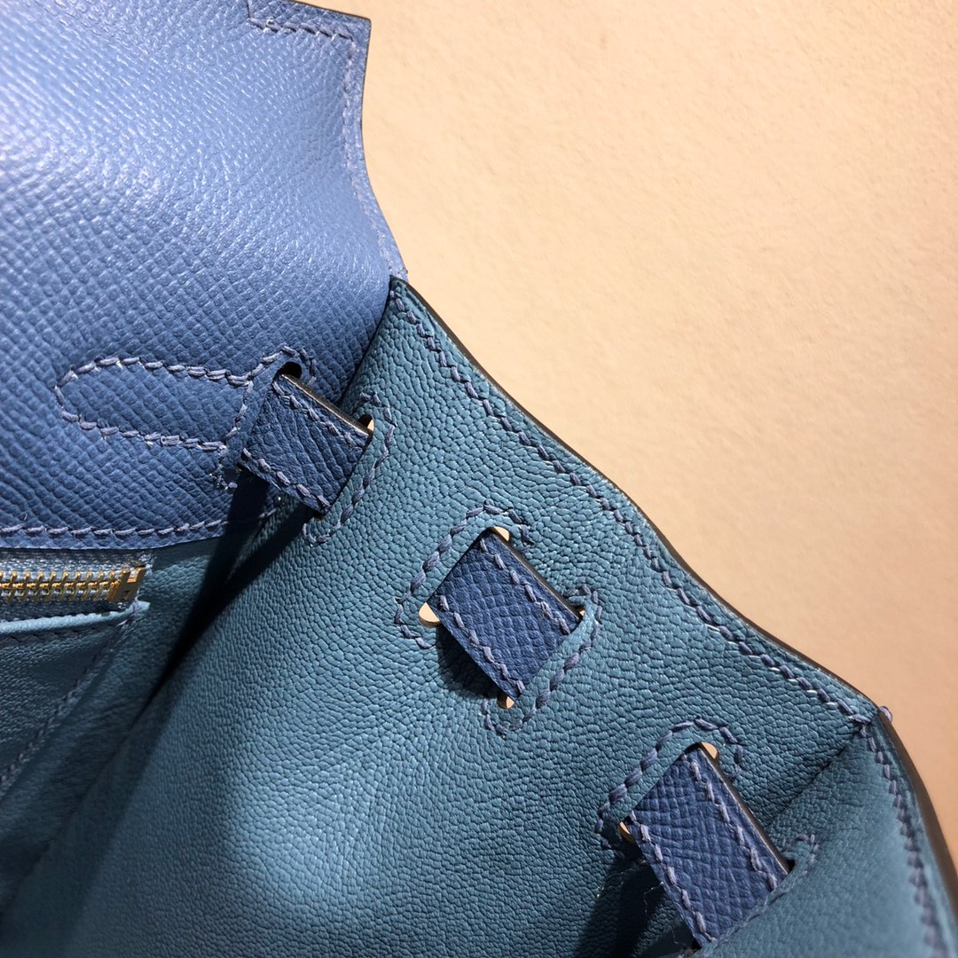 Hermes凯莉包 Kelly 25Cm Epsom R2 Blue Agate 玛瑙蓝 金扣 顶级工艺 手缝蜡线