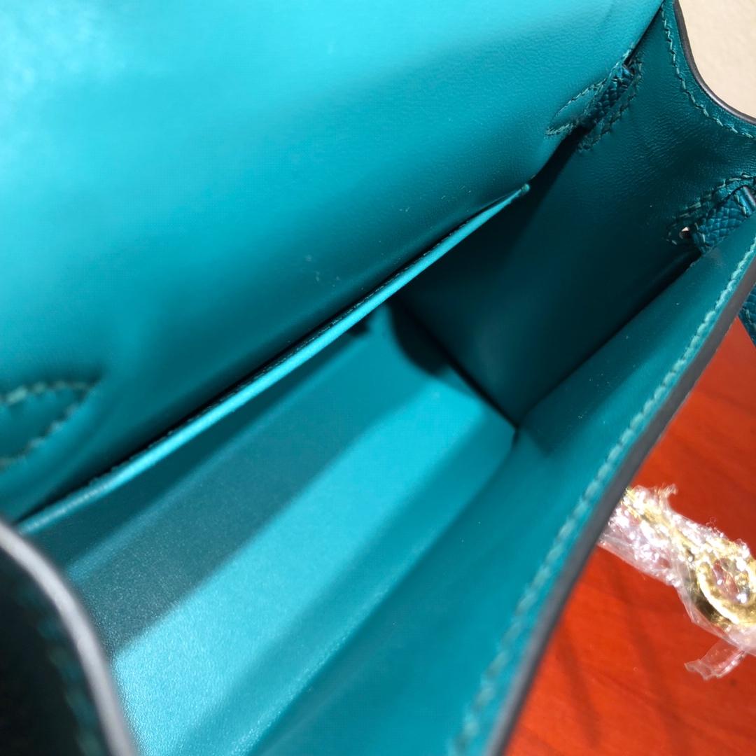 Mini Kelly ll 二代 19Cm Chevre Epsom 7F Blue Paon 孔雀蓝 金扣 顶级工艺 手缝蜡线 可放X 炒鸡可爱 上身效果极好