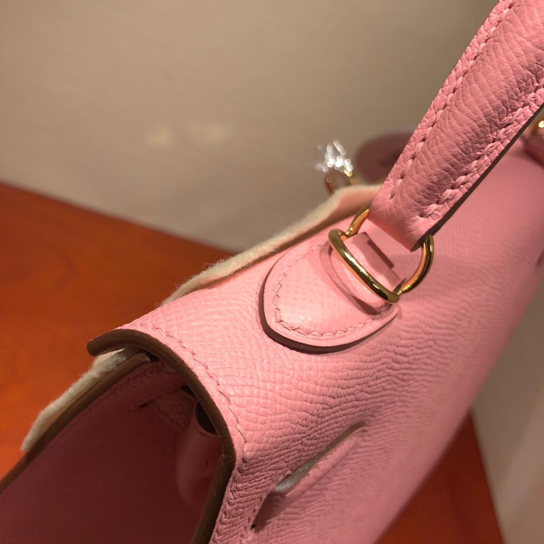 Hermes凯莉包 Kelly 25Cm Epsom 1Q Rose Conpetti 奶昔粉 金扣 顶级工艺 手缝蜡线