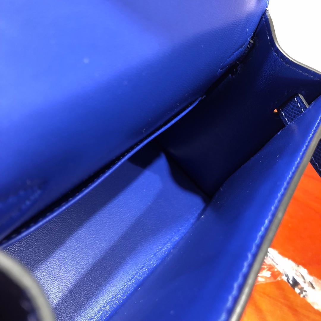 Mini Kelly ll 二代 19Cm Chevre Epsom 7T Blue Htdra 电光蓝 银扣 顶级工艺 手缝蜡线 可放X 炒鸡可爱 上身效果极好