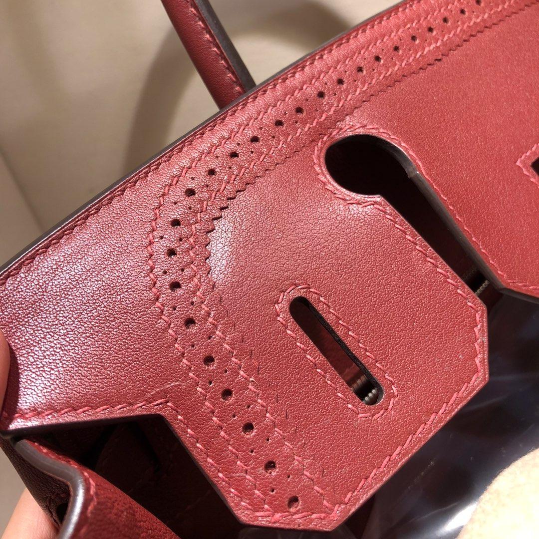Birkin Ghillies 30Cm Swif拼帆布 55 Rouge H 爱马仕红 银扣 顶级工艺 手缝蜡线在基础得铂金上加上蕾丝的点缀 简直美炸