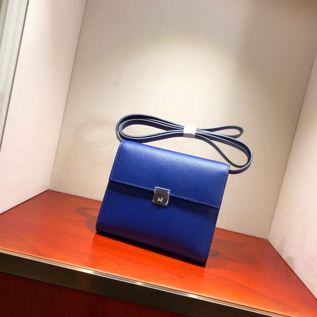 爱马仕包包 illicon 16Cm Epsom 7T Blue Htdra 电光蓝 银扣 顶级工艺 手缝蜡线