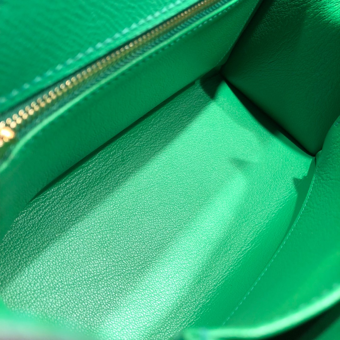 Hermes凯莉包 Kelly 25Cm Epsom 1K Bamdou 竹子绿 金扣 顶级工艺 手缝蜡线