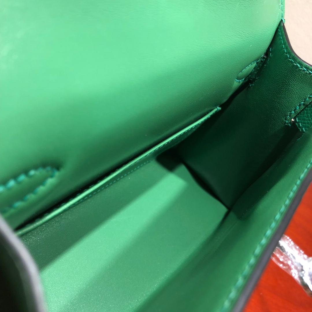 Mini Kelly ll 二代 19Cm Chevre Epsom 1K Bamdou 竹子绿 金扣 顶级工艺 手缝蜡线 可放X 炒鸡可爱 上身效果极好