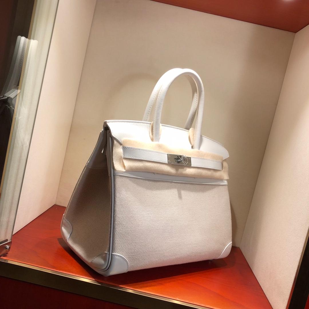 Birkin 30Cm Swift拼帆布 01 Blanc 纯白 银扣 顶级工艺 手缝蜡线无敌限量版古董包