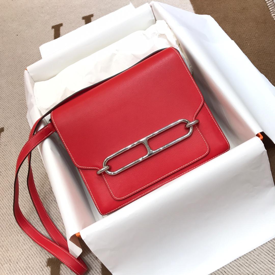 爱马仕猪鼻子包 Roulis 24cm Swift S5 Rouge Tomate 番茄红 银扣 顶级工艺手缝蜡线