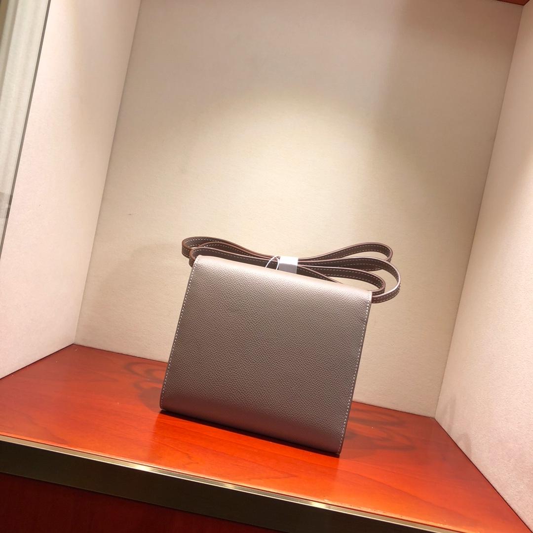 爱马仕包包 illicon 16Cm Epsom M8 Gris Asphalte 沥青灰 银扣 顶级工艺 手缝蜡线