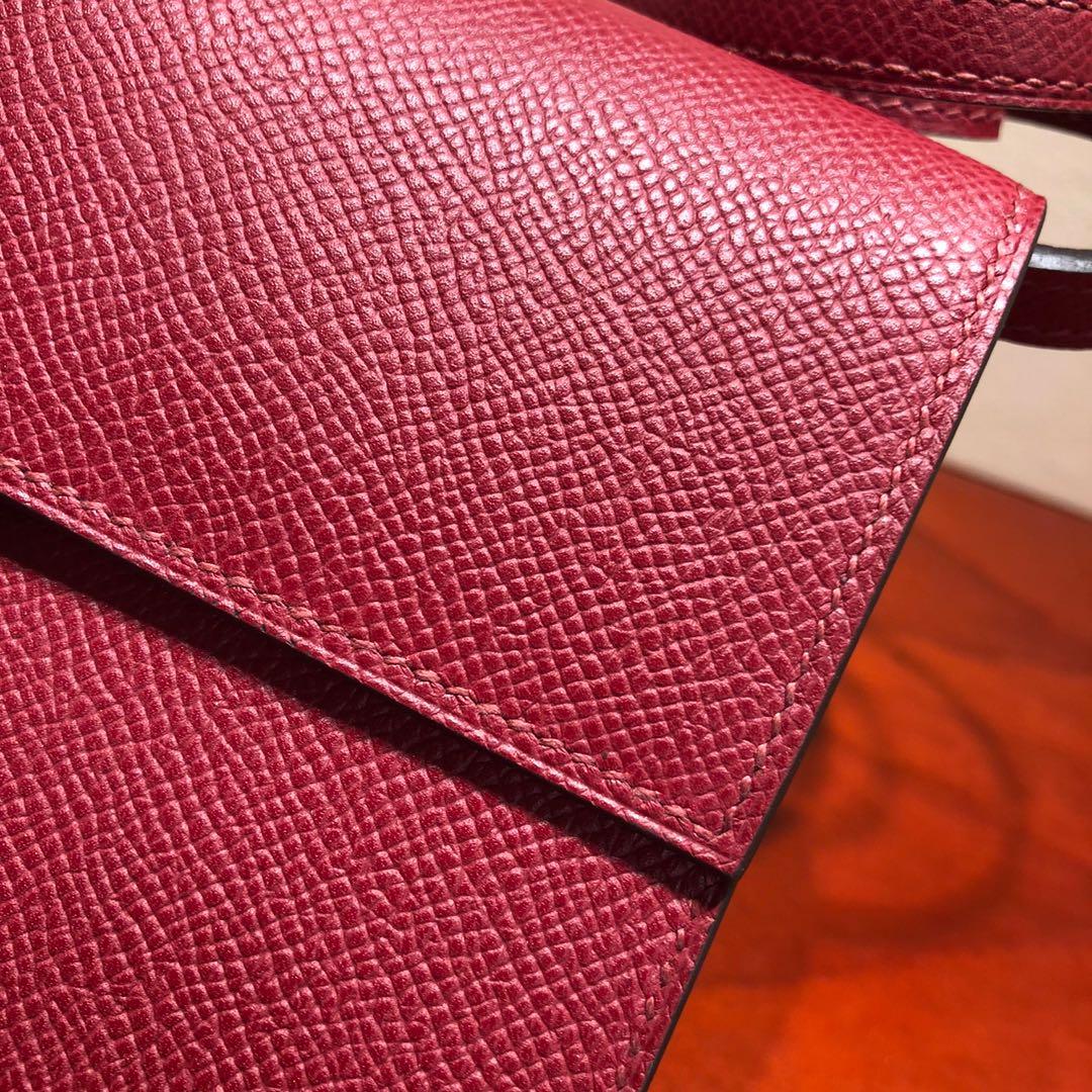 爱马仕包包 illicon 16Cm Epsom K1 Rouge Grenat 石榴红 银扣 顶级工艺 手缝蜡线