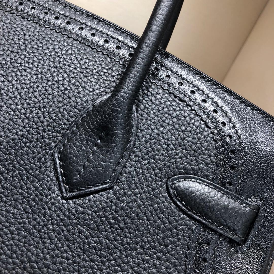 Birkin Ghillies 30Cm Swif拼Tc 89 Noir 黑色 银扣 顶级工艺 手缝蜡线在基础得铂金上加上蕾丝的点缀 简直美炸