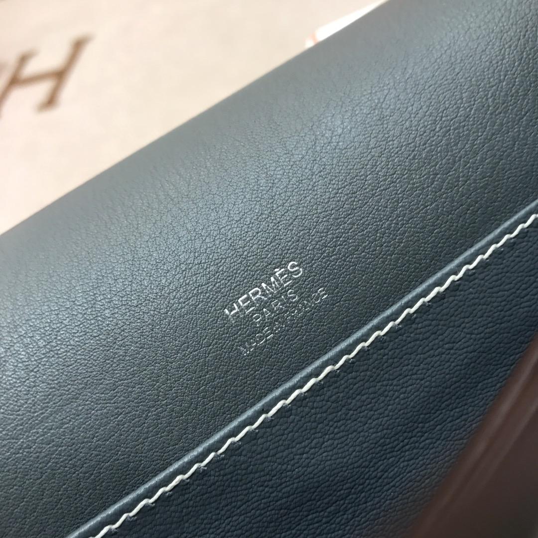 爱马仕猪鼻子包 Roulis 24cm Swift 8F Etain 锡器灰 银扣 顶级工艺手缝蜡线