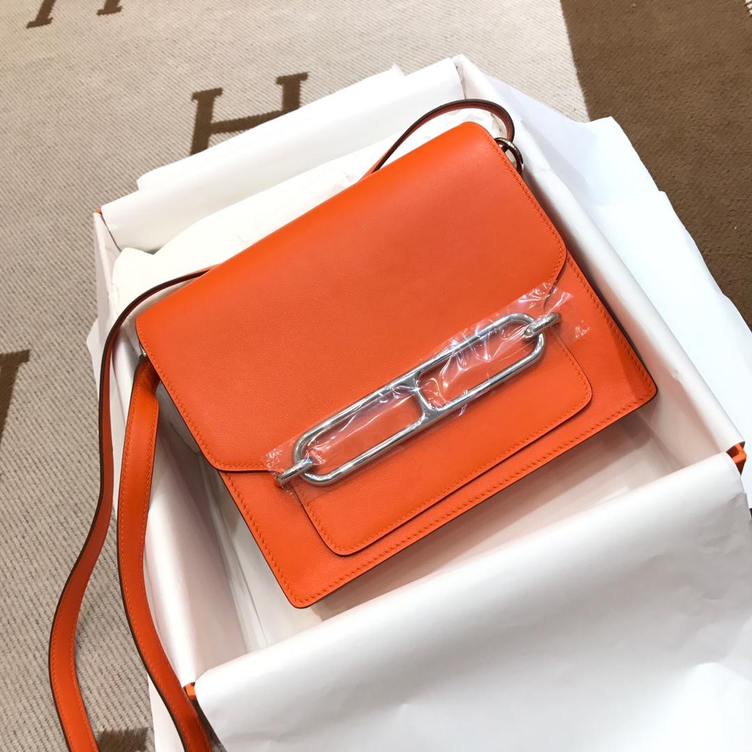 爱马仕猪鼻子包 Roulis 24cm Swift 93 Orange 橙色 银扣 顶级工艺手缝蜡线