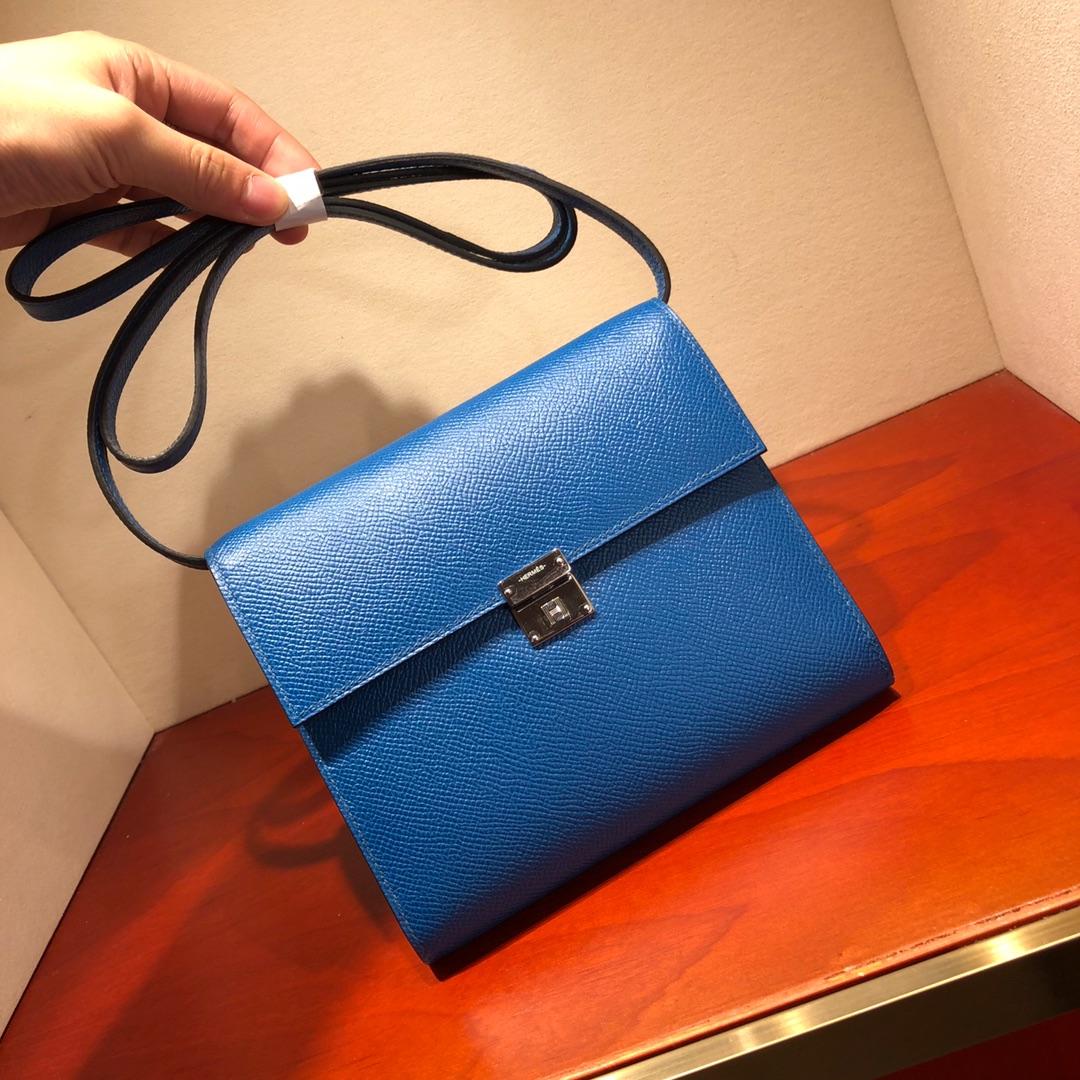 爱马仕包包 illicon 16Cm Epsom 7L Blue De Maite 普鲁士蓝 银扣 顶级工艺 手缝蜡线