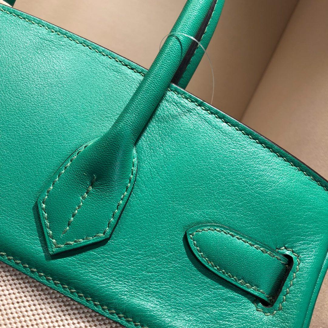 Birkin 30Cm Swift拼帆布 U4 Vert Vertigo 丝绒绿 银扣 顶级工艺 手缝蜡线无敌限量版古董包