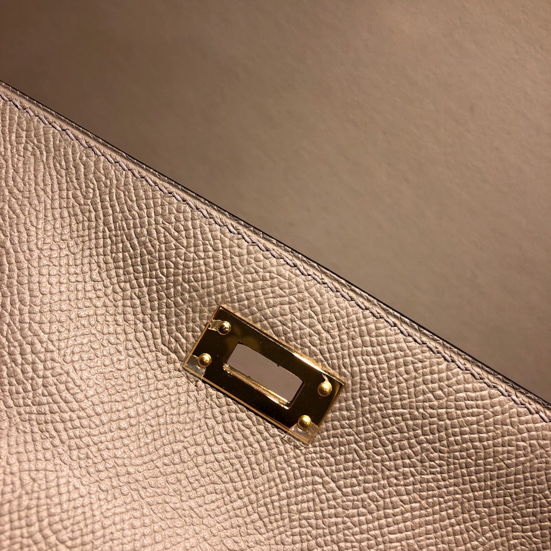 Hermes凯莉包 Kelly 25Cm Epsom M8 Gris Asphaite 沥青灰 金扣 顶级工艺 手缝蜡线