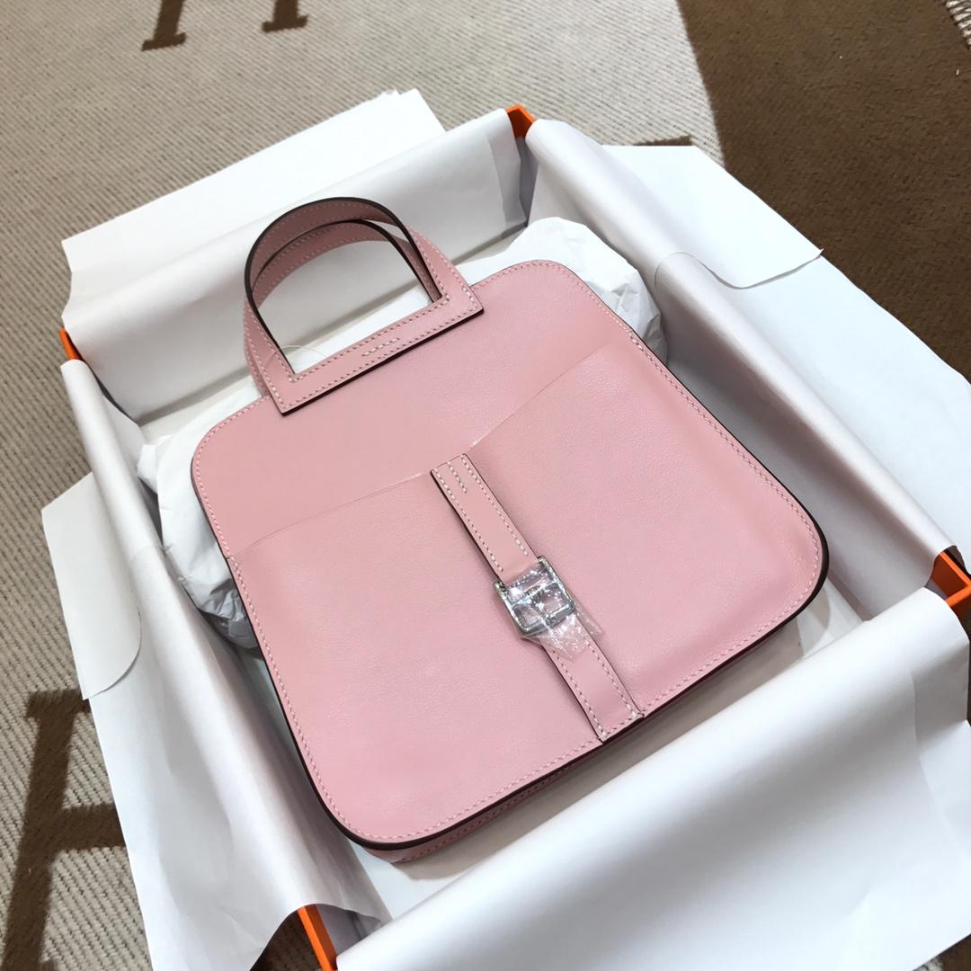 爱马仕包包批发 Mini Halzan 22cm Swift 3Q Rose Sakura 芭比粉 银扣 秋天就适合一款mini的包包