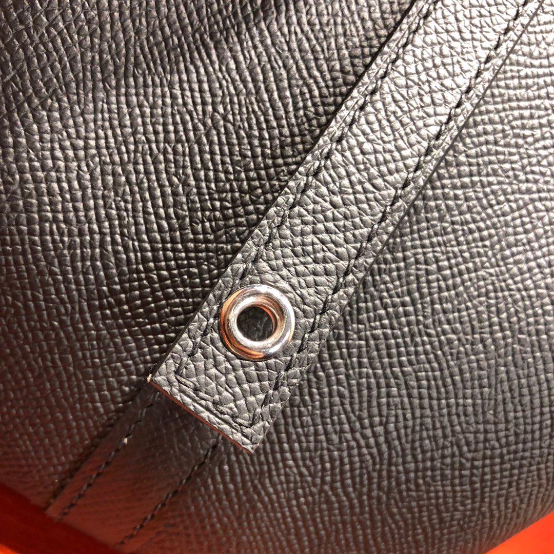 爱马仕菜篮子 Picotin Lock 18Cm Epsom编制 89 Noir 黑色 银扣 顶级工艺 纯手缝蜡线