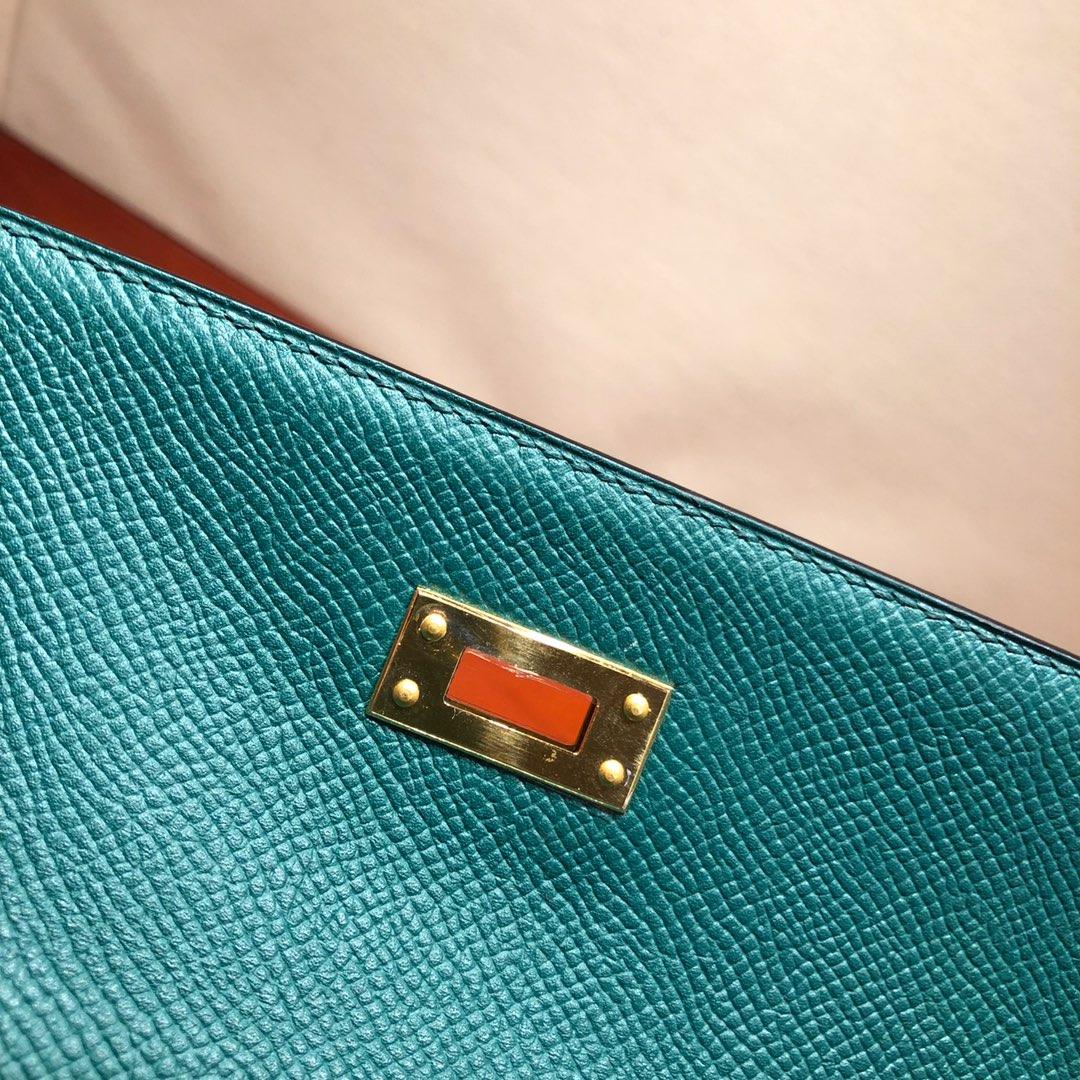 Hermes凯莉包 Kelly 25Cm Epsom Z6 Malachite 孔雀绿 金扣 顶级工艺 手缝蜡线
