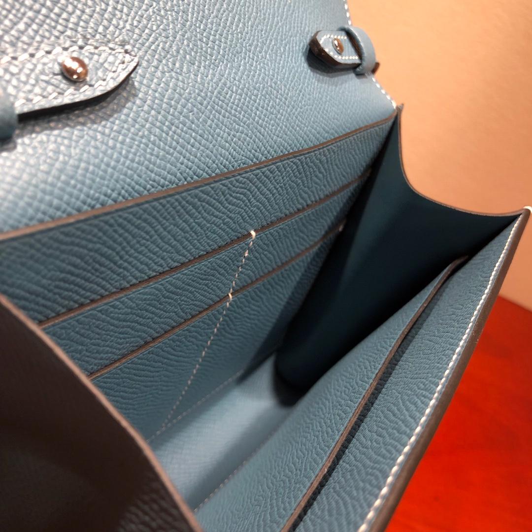 爱马仕包包 illicon 16Cm Epsom 75 Blue Jean 牛仔蓝 银扣 顶级工艺 手缝蜡线