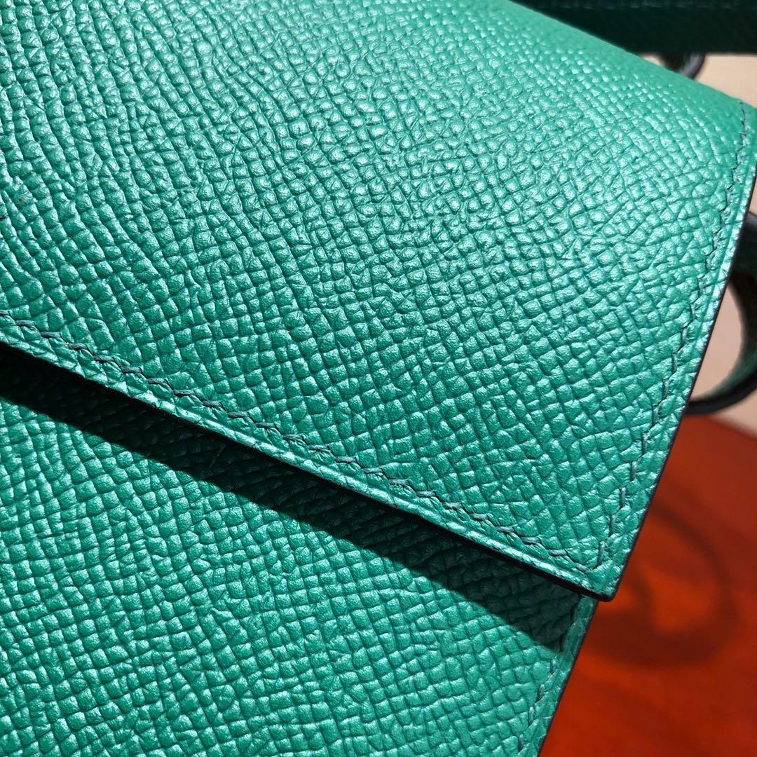 爱马仕包包 illicon 16Cm Epsom U4 Vert Vertigo 丝绒绿 银扣 顶级工艺 手缝蜡线