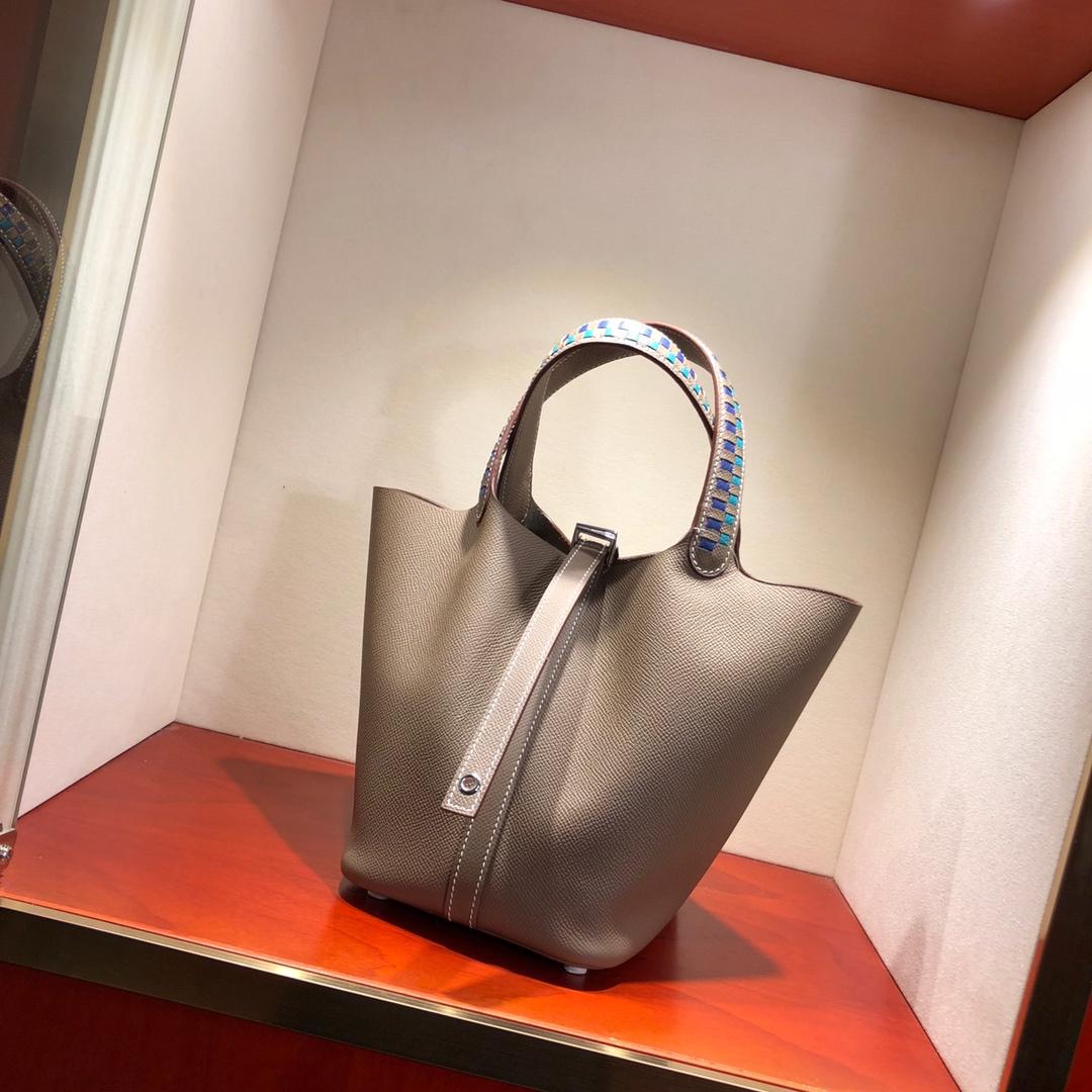 爱马仕菜篮子 Picotin Lock 18Cm Epsom编制 18 Etoupe 大象灰 银扣 顶级工艺 纯手缝蜡线