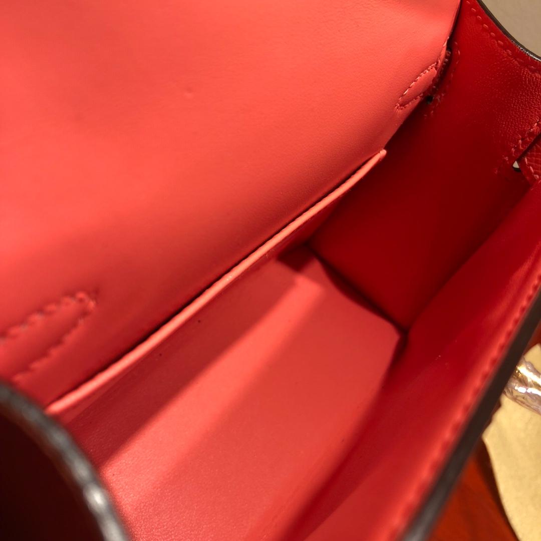 Mini Kelly ll 二代 19Cm Chevre Epsom L5 Crevette 龙虾粉 金扣 顶级工艺 手缝蜡线 可放X 炒鸡可爱 上身效果极好